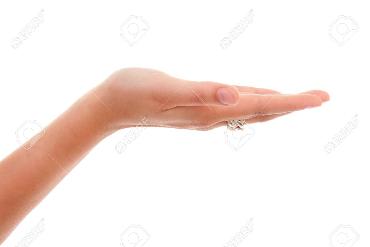 Open empty woman's hand over white background Stock Photo - 7052146