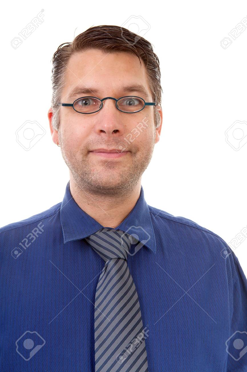 portait of male nerdy geek over white background Stock Photo - 8179259