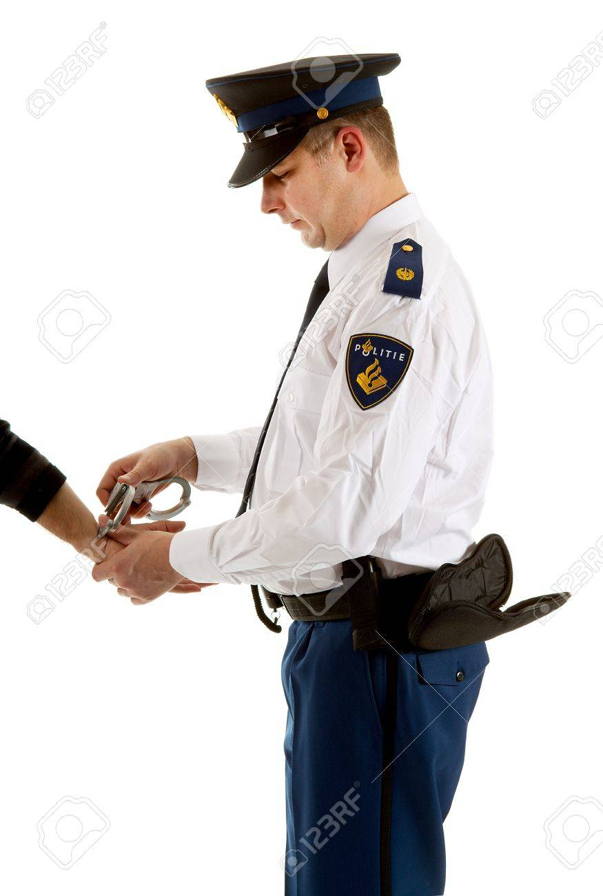 police man is making a arrest over white background Stock Photo - 9092301