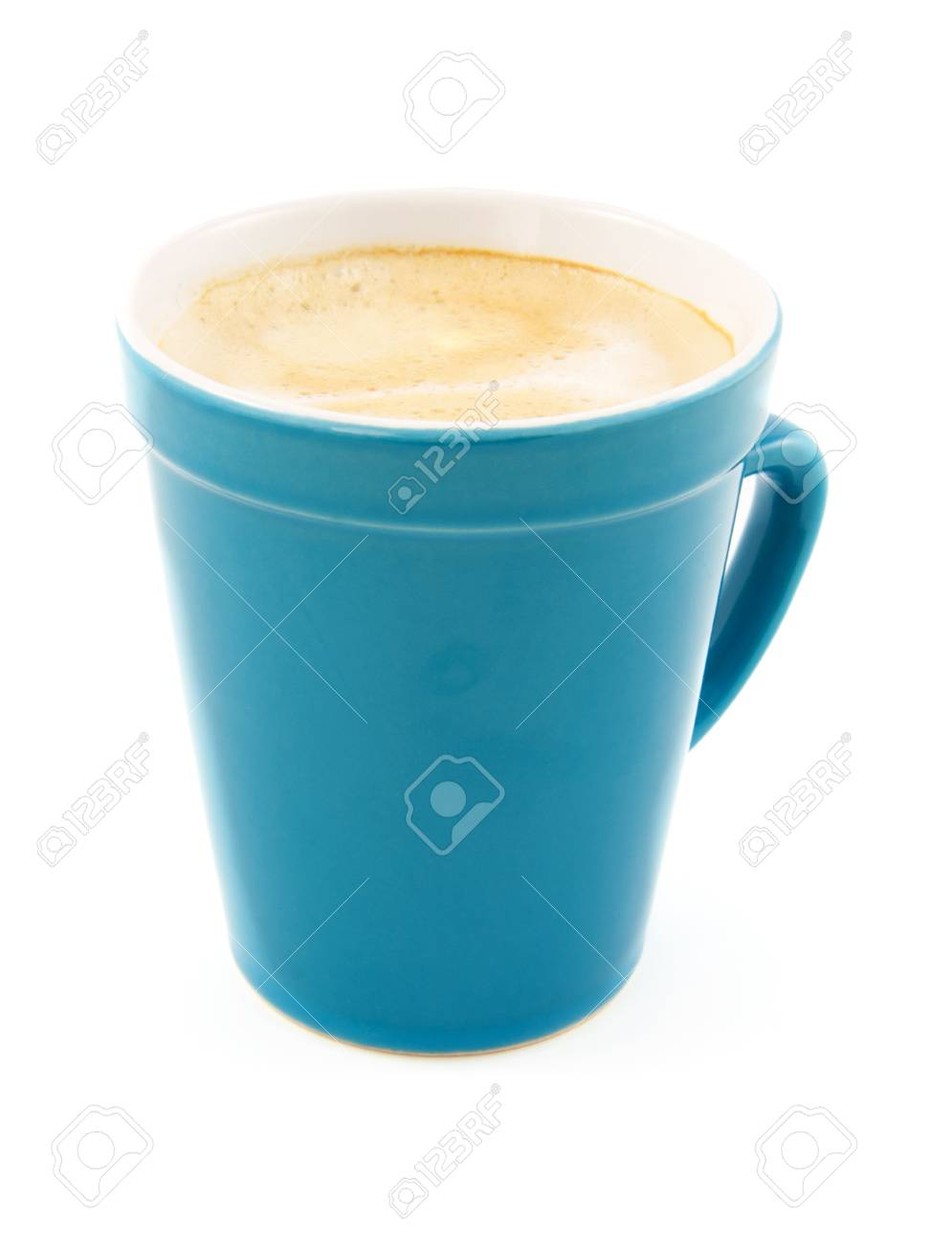 Coffee in blue cup isolated on white background Stock Photo - 9092354