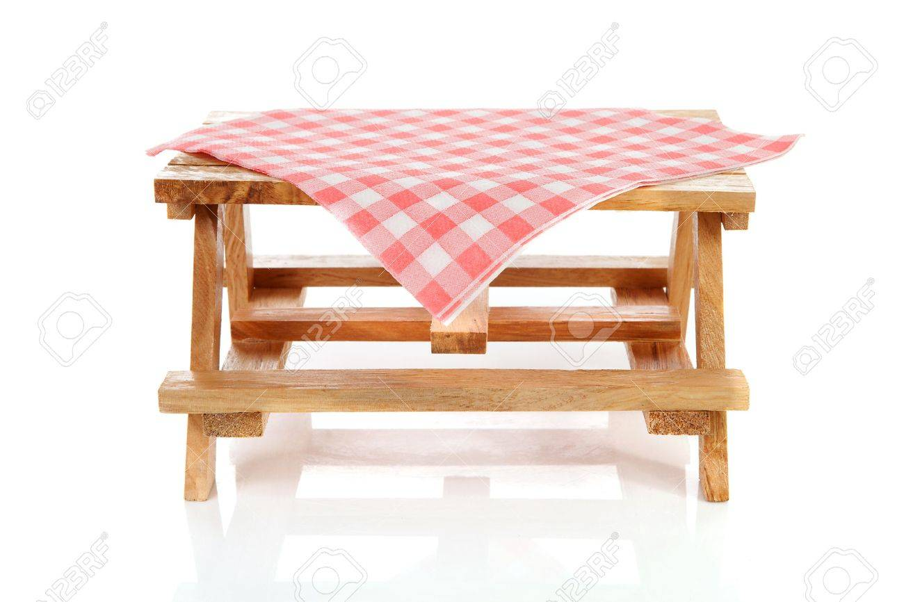 Empty Picnic Table With Tablecloth Over White Background Stock Photo    9856920