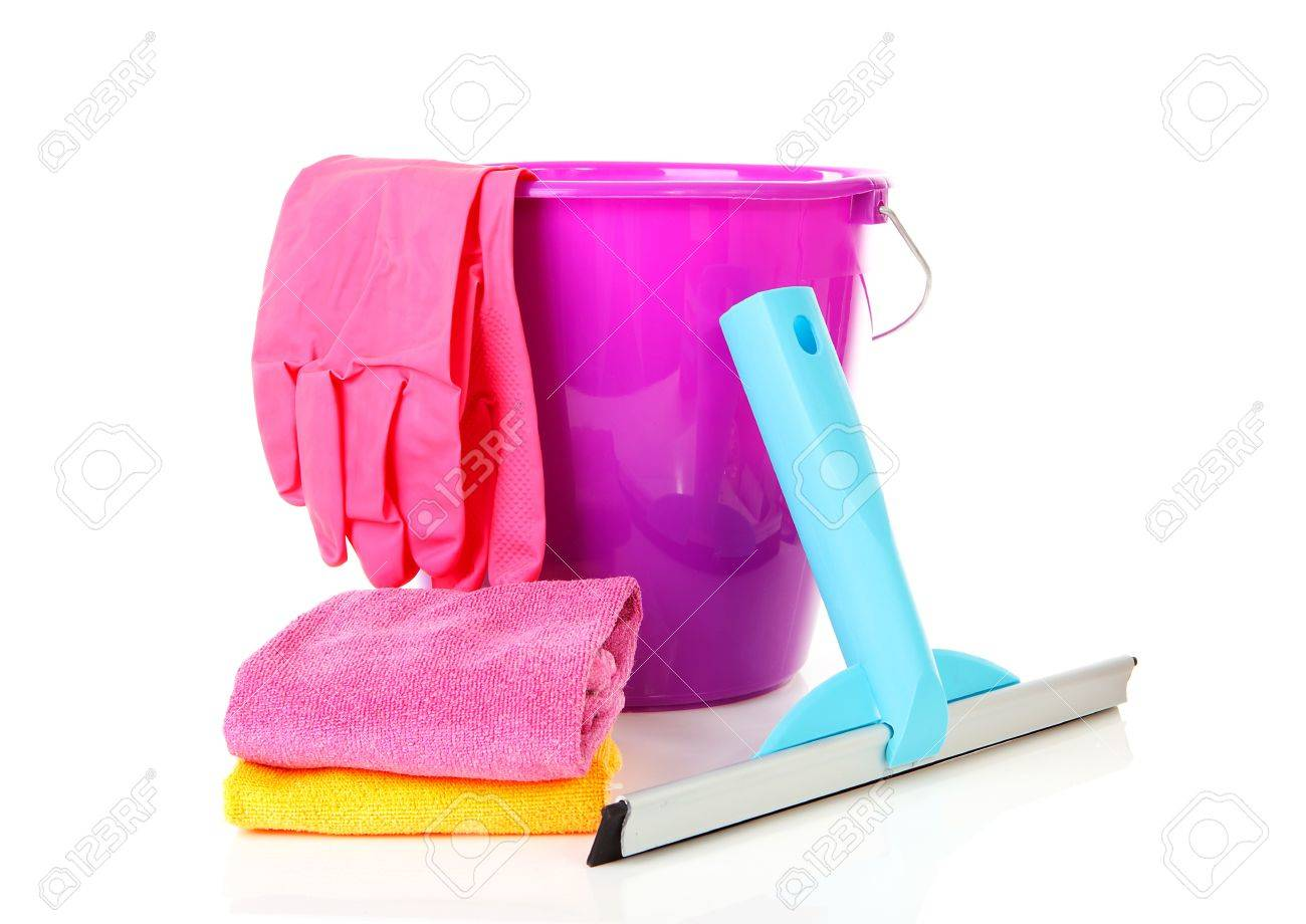 Bucket and window cleaning equipment over white background Stock Photo - 11040535