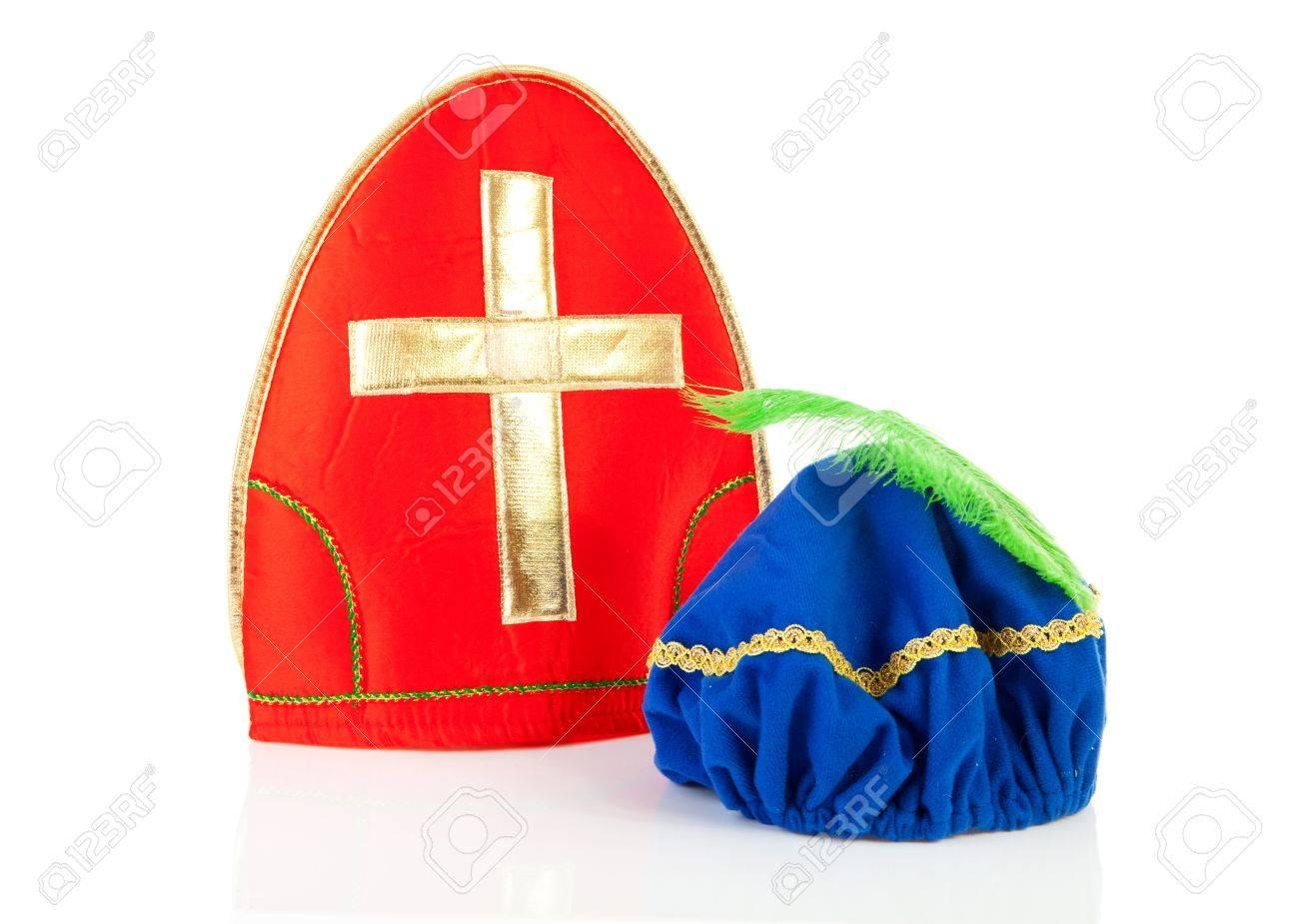 bb8c2623c824b Mitre ( mijter) of Sinterklaas and hat of black pete ( zwarte piet)
