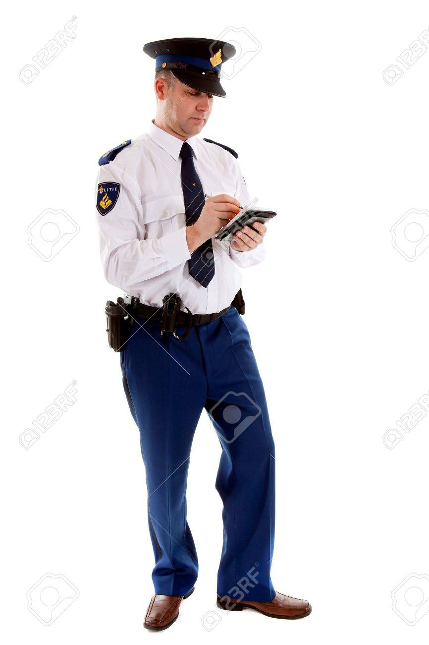 Dutch police officer filling out parking ticket over white background Stock Photo - 11962347