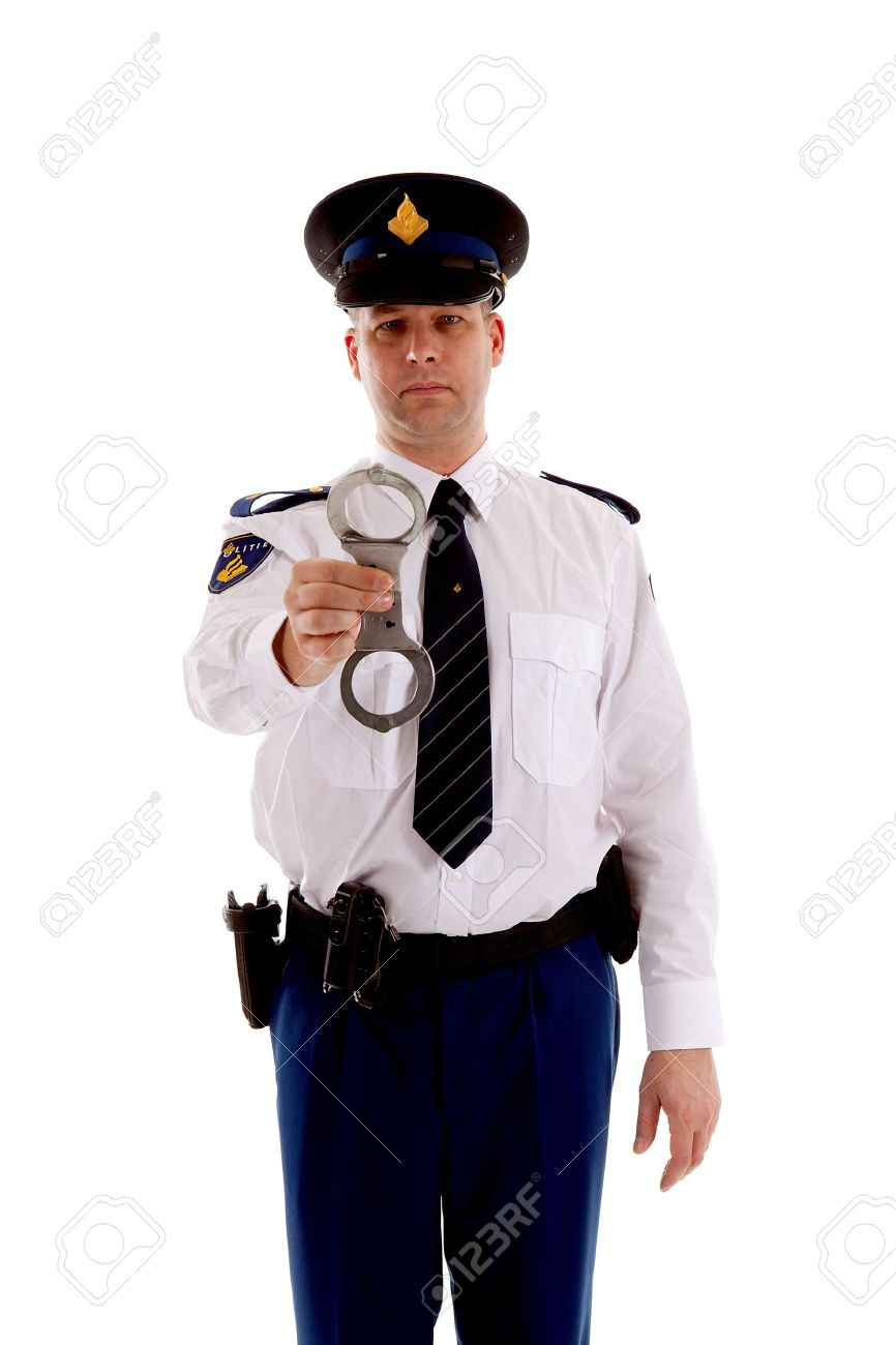 Police officer is showing handcuffs over white background Stock Photo - 11962349