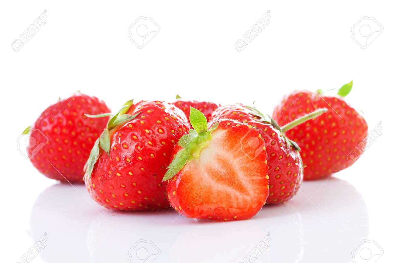 Couple of fresh strawberries in closeup over white background Stock Photo - 14837208