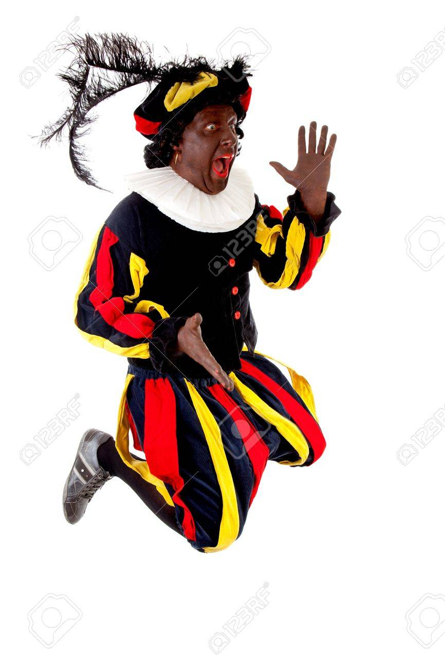 Excited jumping Zwarte piet ( black pete) typical Dutch character