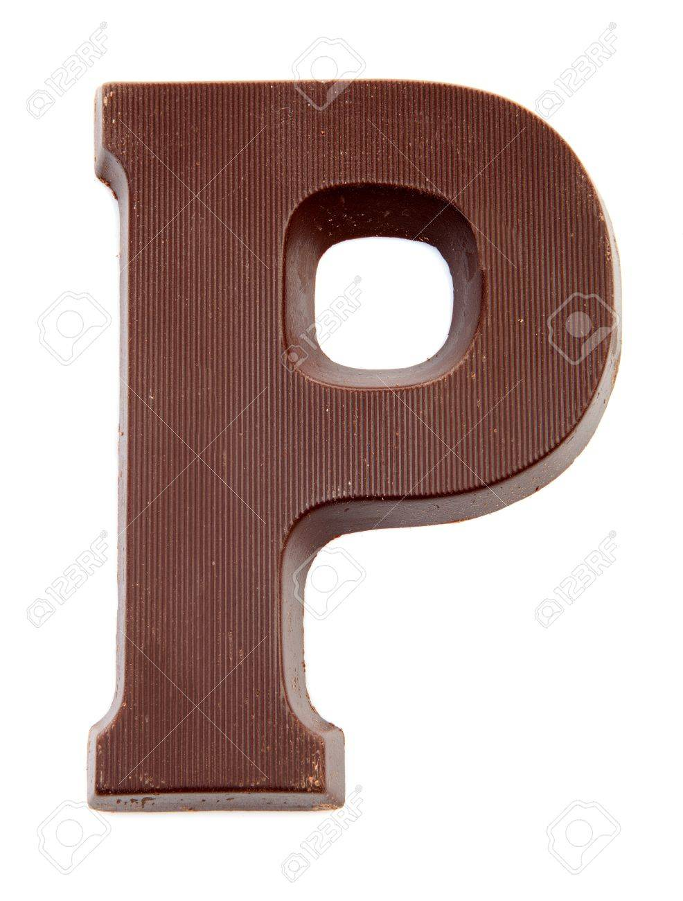 Chocolate letter P for Sinterklaas, event in the Dutch in december over white background Stock Photo - 17807218