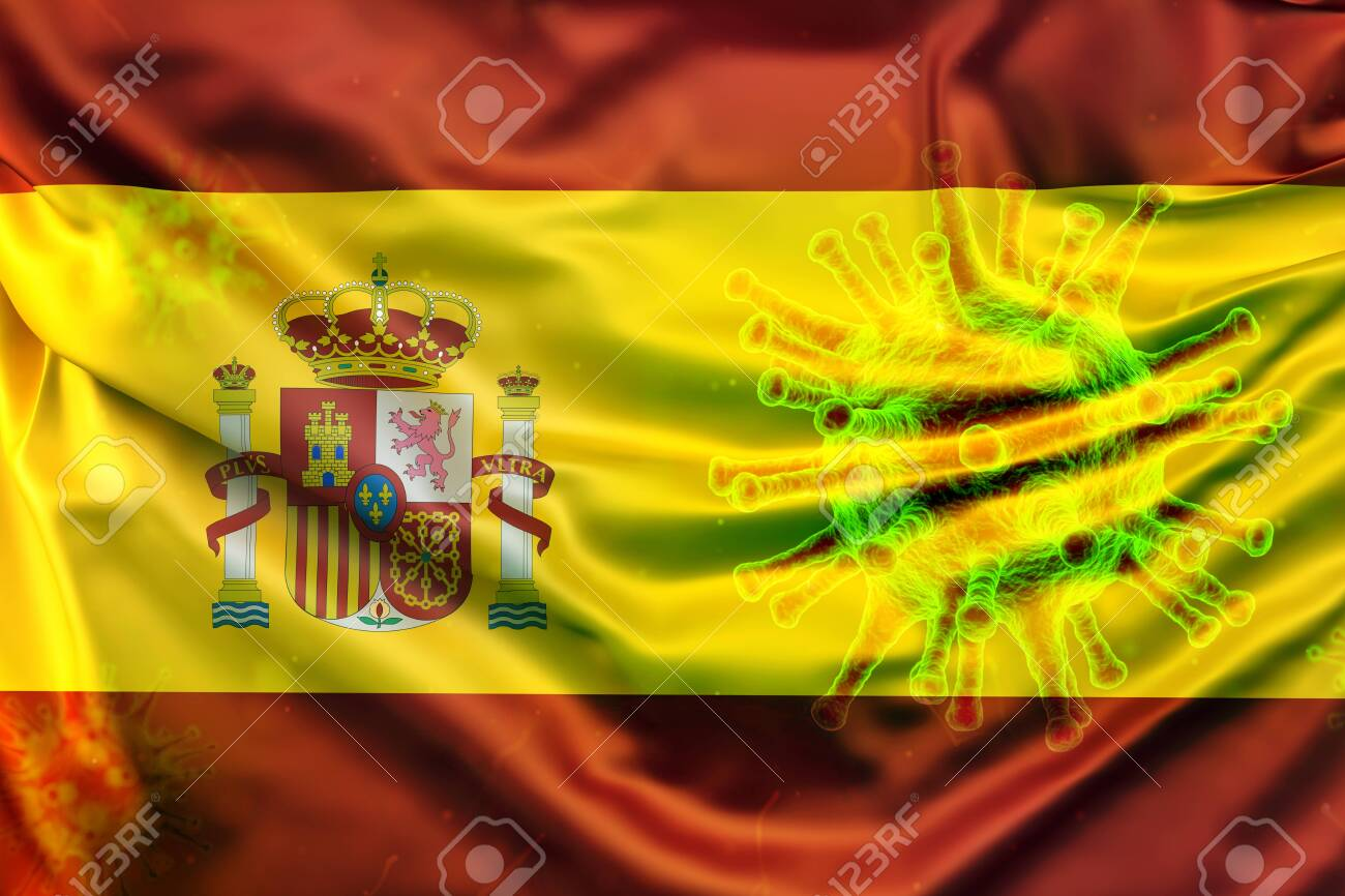 Spain Flag With Virus Symbol Simulating Contagion Stock Photo Picture And Royalty Free Image Image 143928492