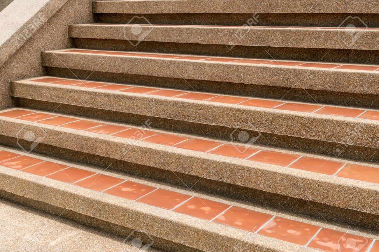 Concrete With Ceramic Tile Staircase Stock Photo   59179674