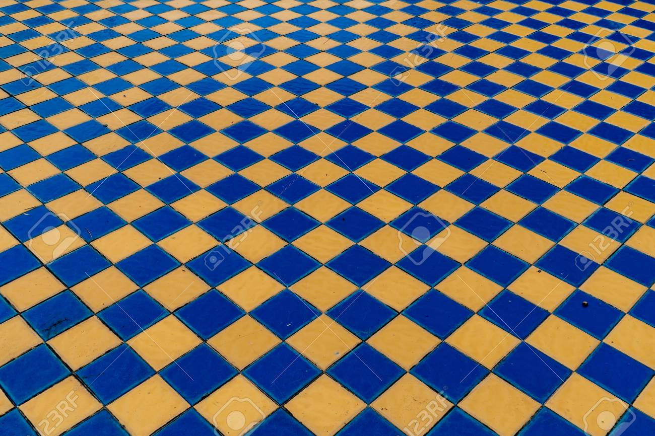 Perspective Of Old Style Blue And Yellow Ceramic Tiles Floor Stock ...
