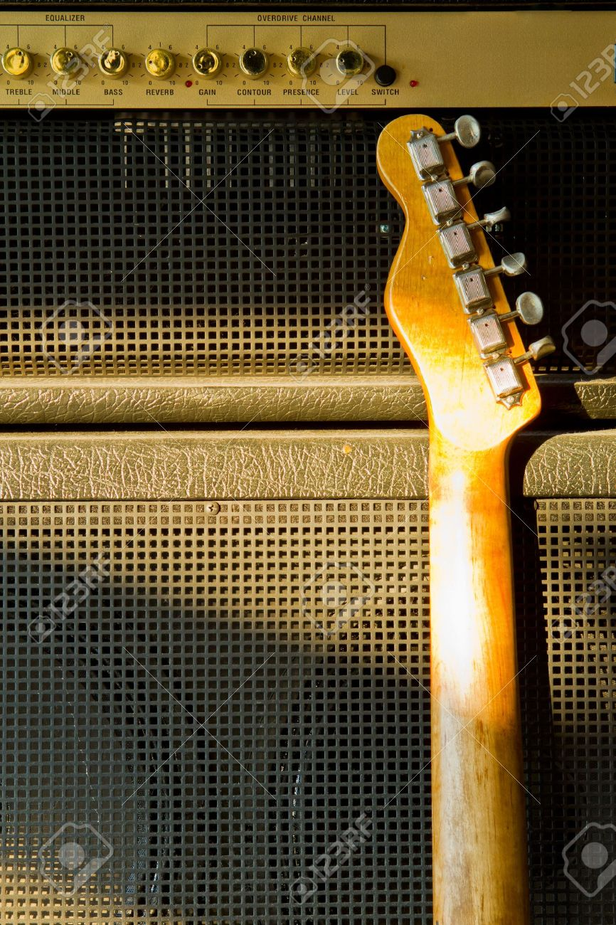 Telecaster guitar model and combo amplifier Stock Photo - 15538413