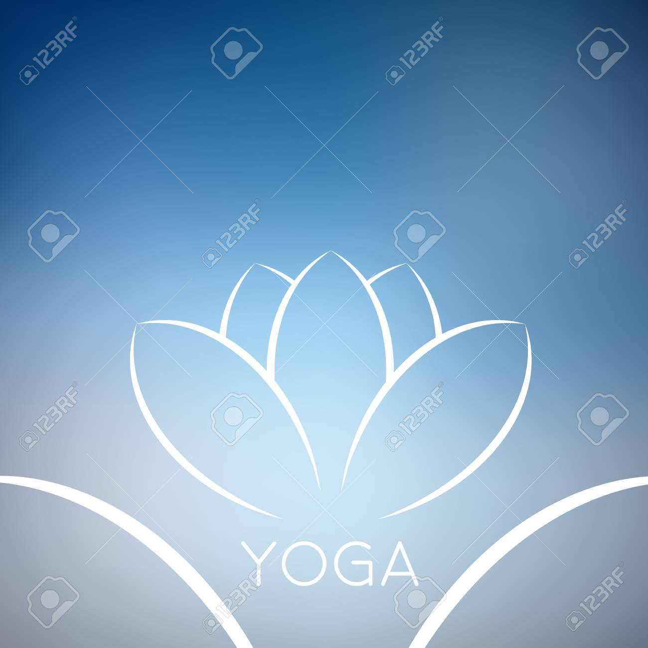 Abstract Blue Lotus Flower Background Sample Text Yoga World