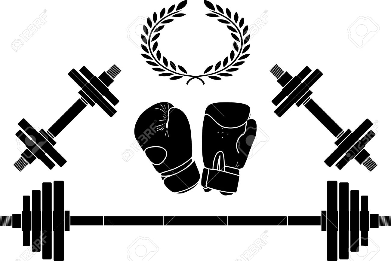 weights and boxing gloves. illustration Stock Vector - 6901172