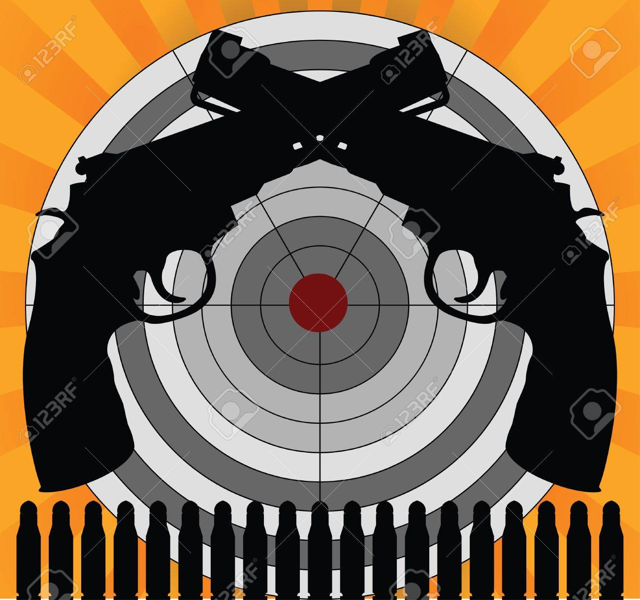 target and pistols Stock Vector - 7710228