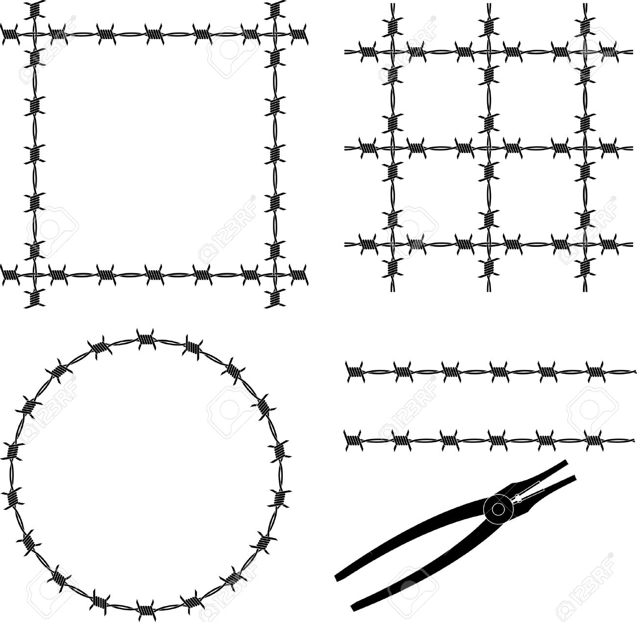 Barbed Wire. Stencil. Vector Illustration Royalty Free Cliparts ...