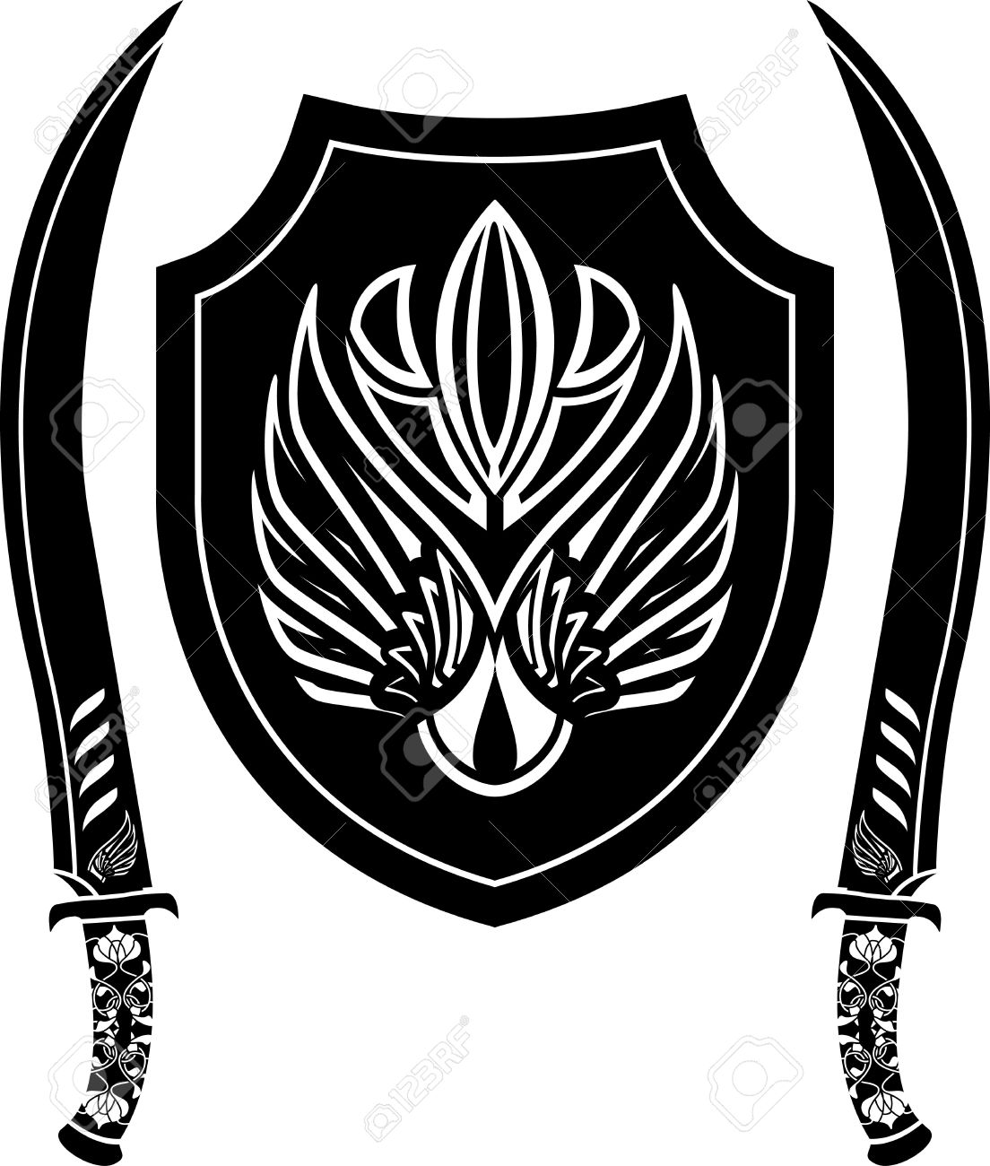 fantasy arabian shield and swords. stencil. vector illustration Stock Vector - 9177574