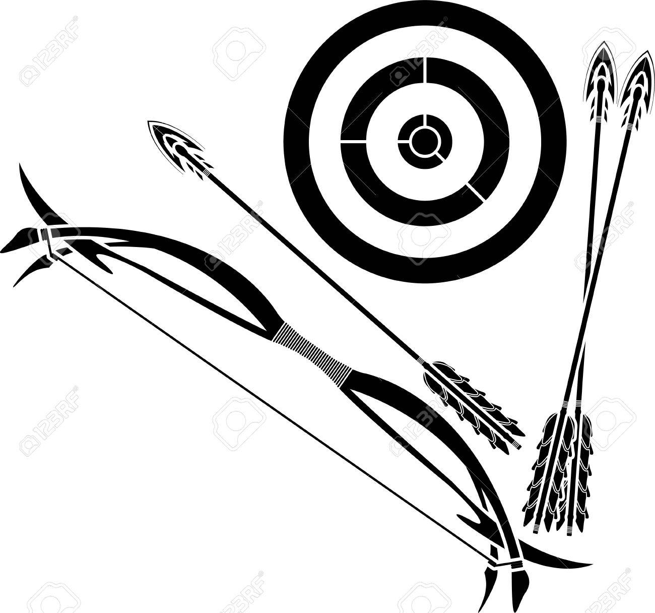 bow and target. stencil. vector illustration Stock Vector - 9177576
