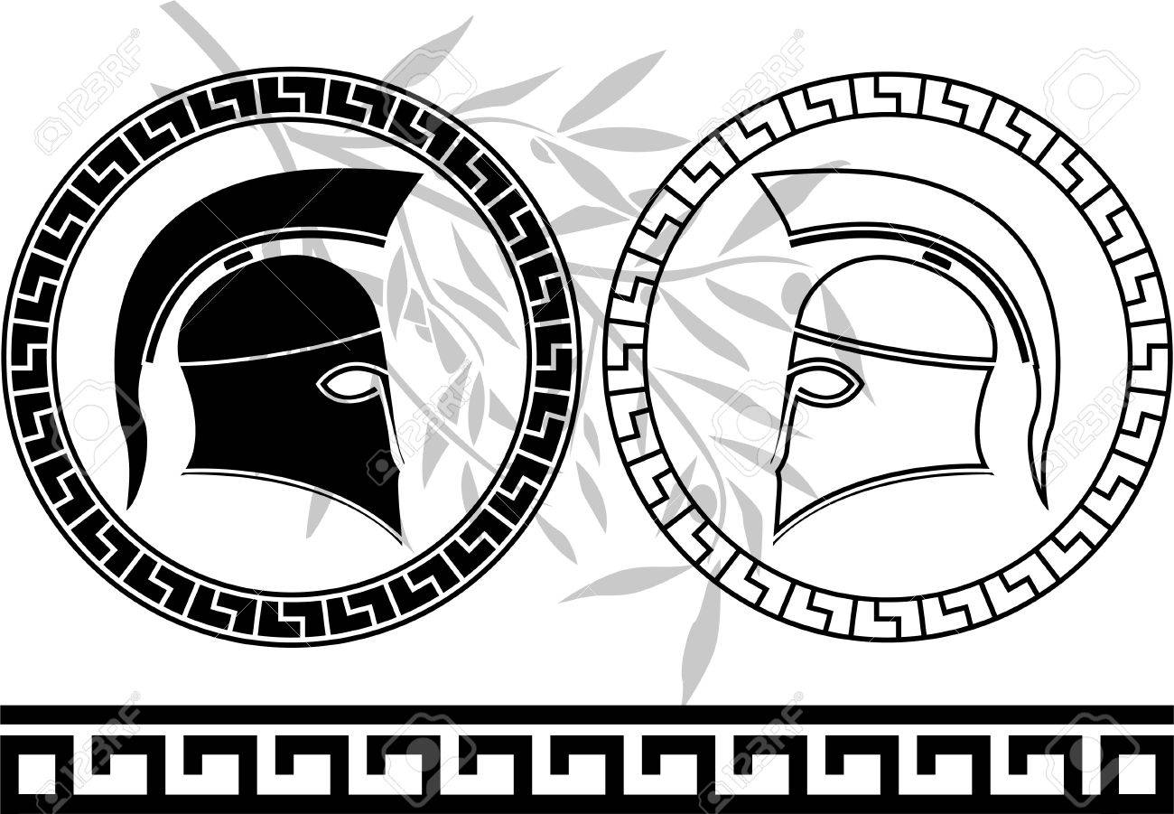 hellenic helmets and olive branch. stencils. vector illustration Stock Vector - 9453392