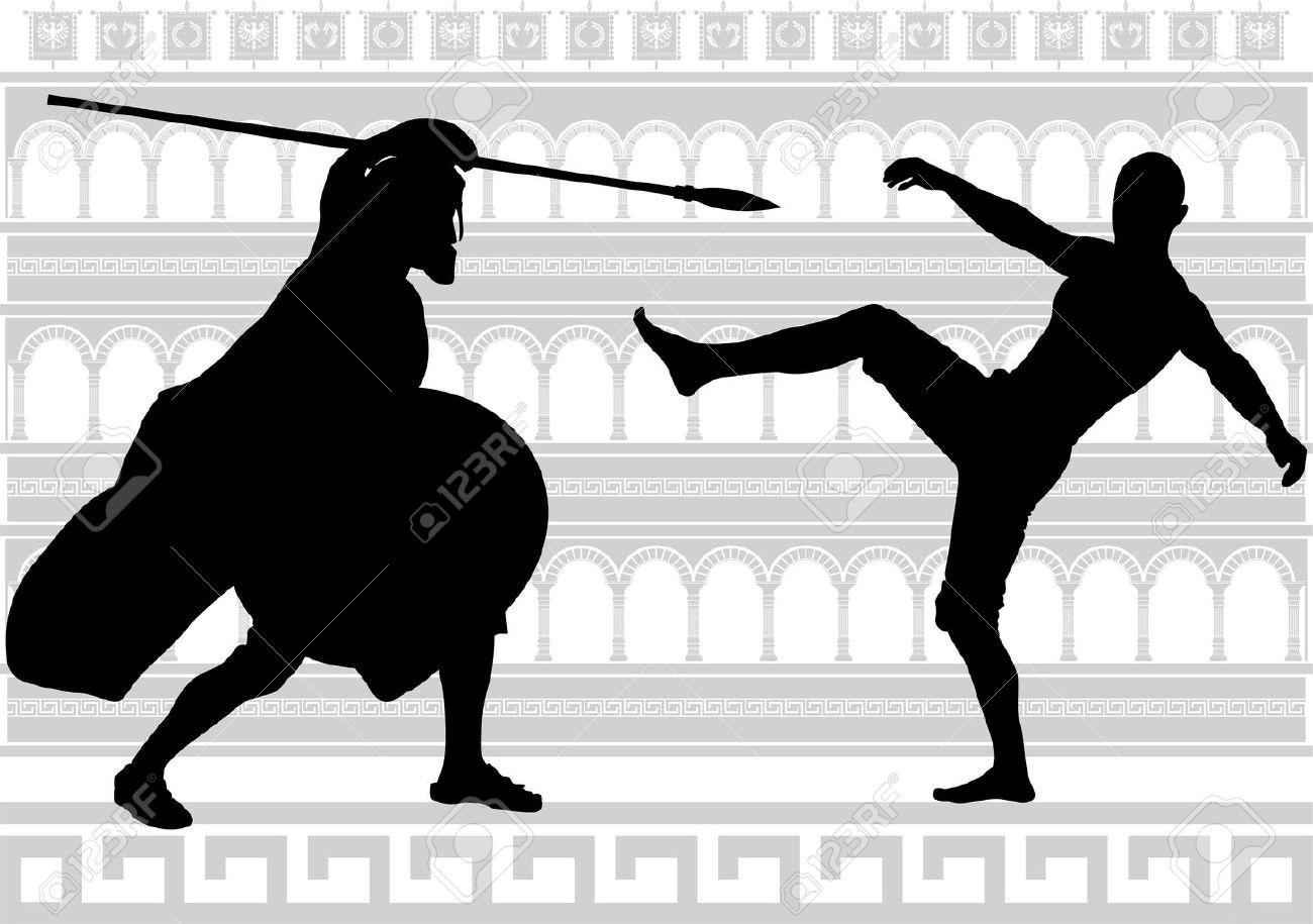 silhouettes of gladiators. Stock Vector - 10200814