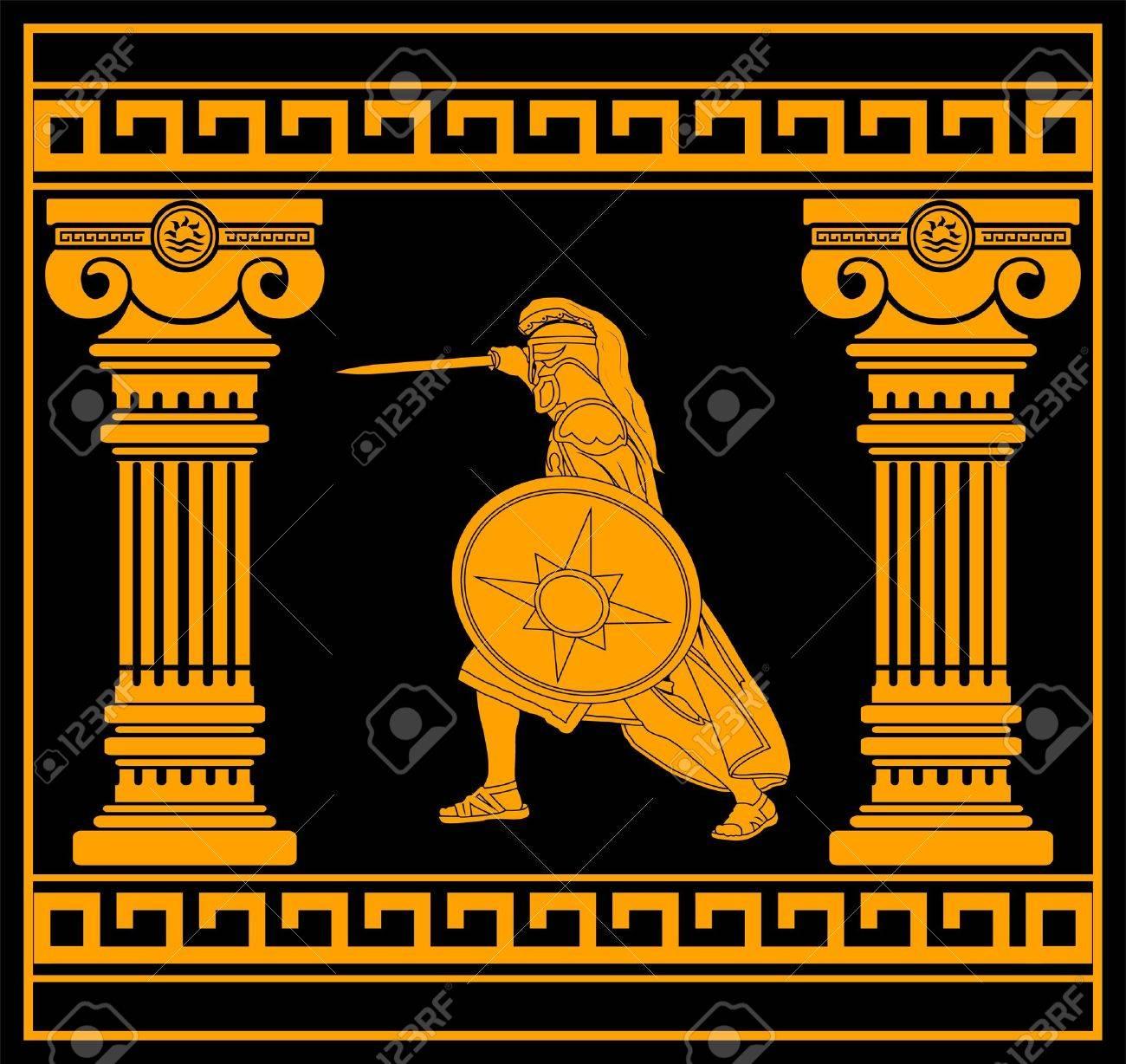 fantasy warrior with columns. fourth variant. vector illustration Stock Vector - 10307731