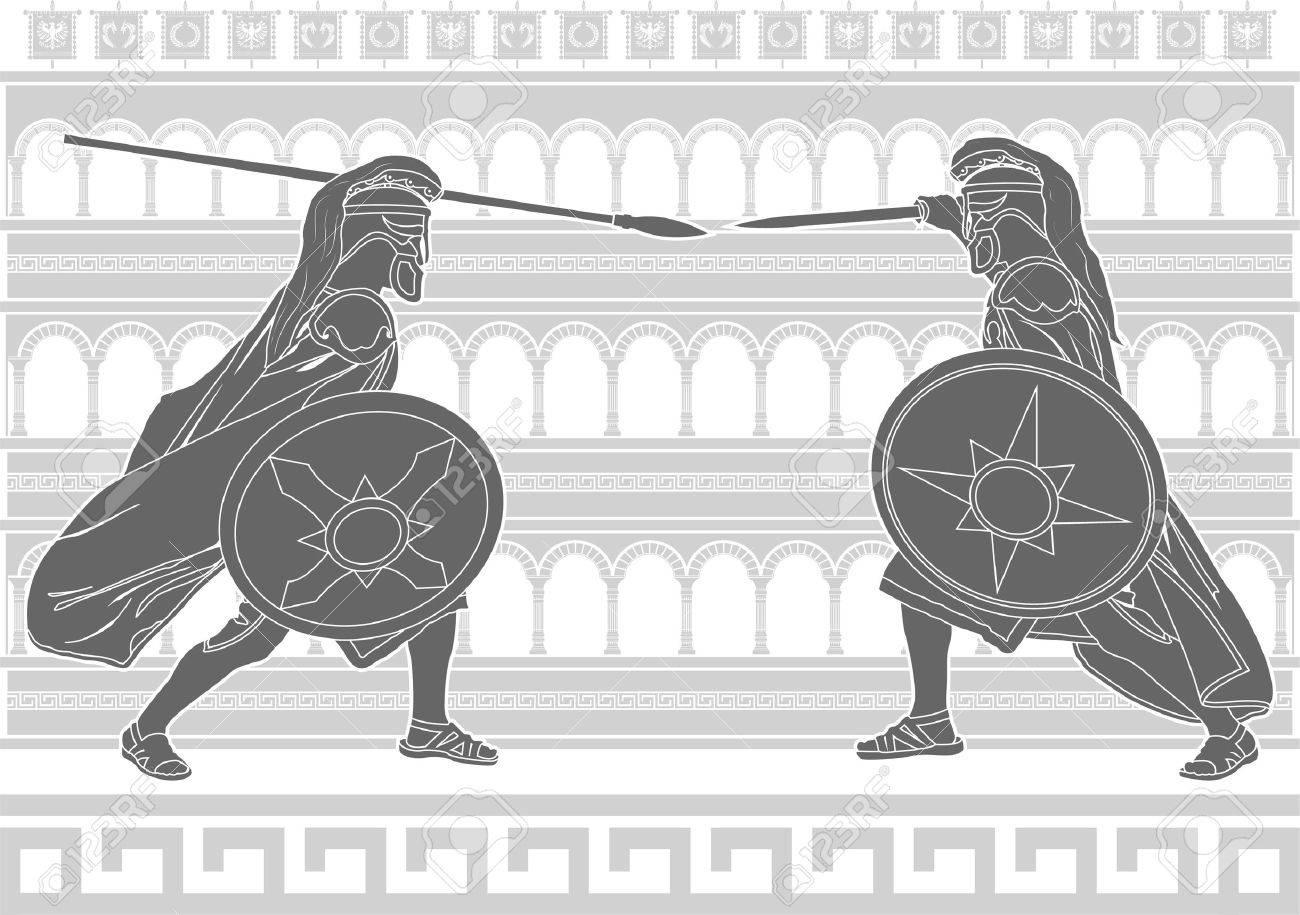two gladiators. stencil. Stock Vector - 10785188