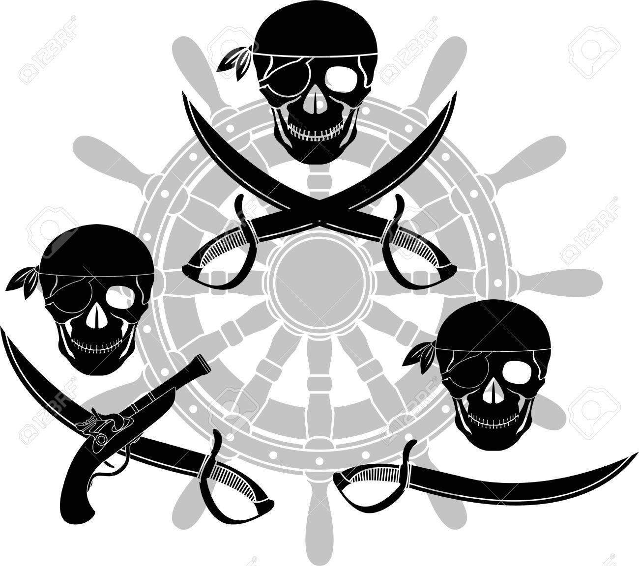 Conjunto De Señales Piratas. Plantillas. Ilustración Vectorial ...