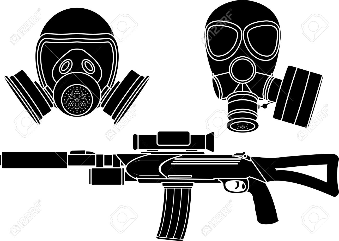 sniper rifle and gas masks. stencil. vector illustration Stock Vector - 11275003
