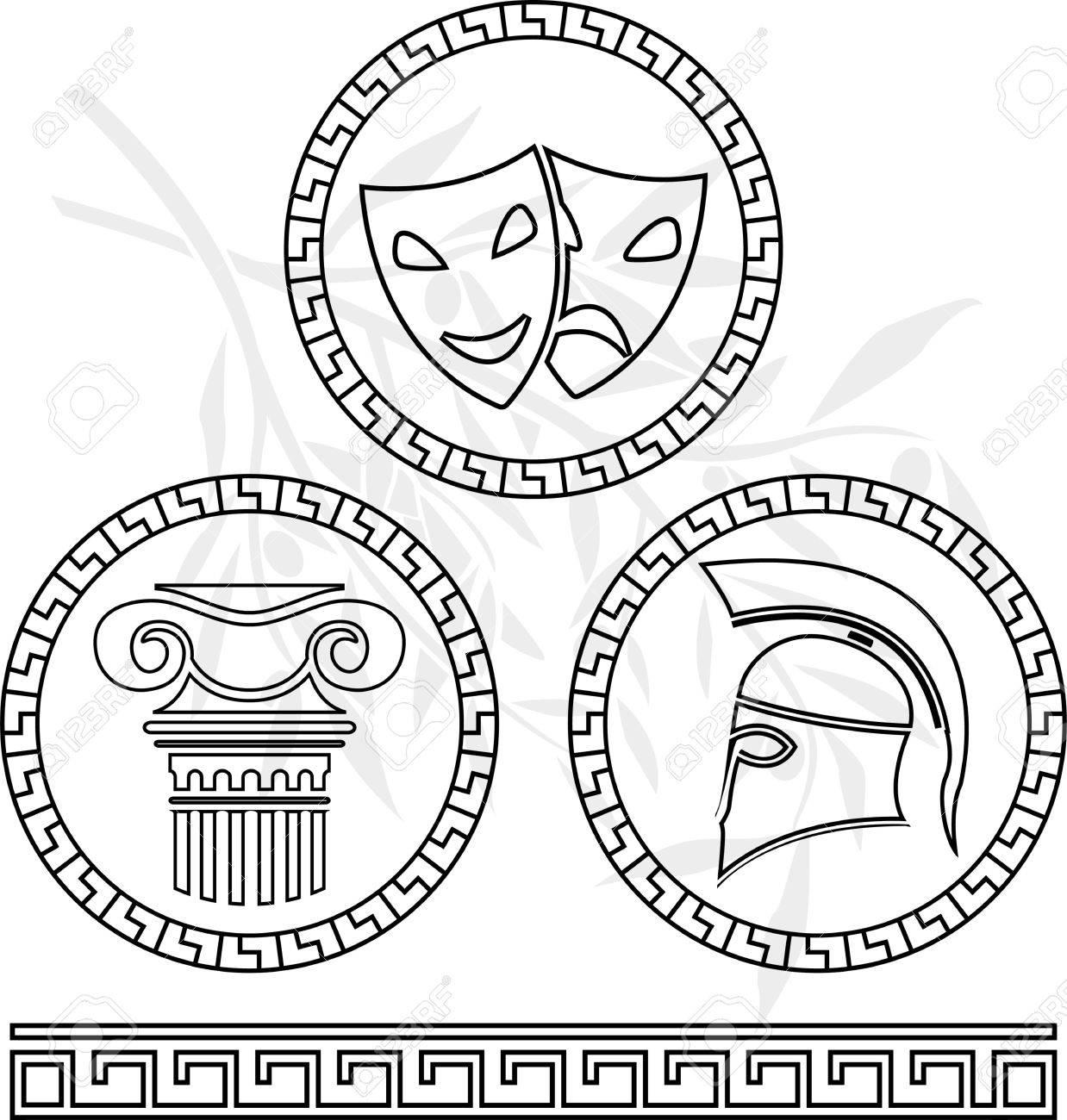 Plantillas De Las Imágenes Helénico. Ilustración Vectorial ...