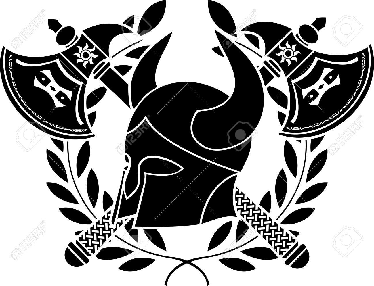 fantasy barbarian helmet with axes and laurel wreath  stencil  first variant  vector illustration Stock Vector - 12494826