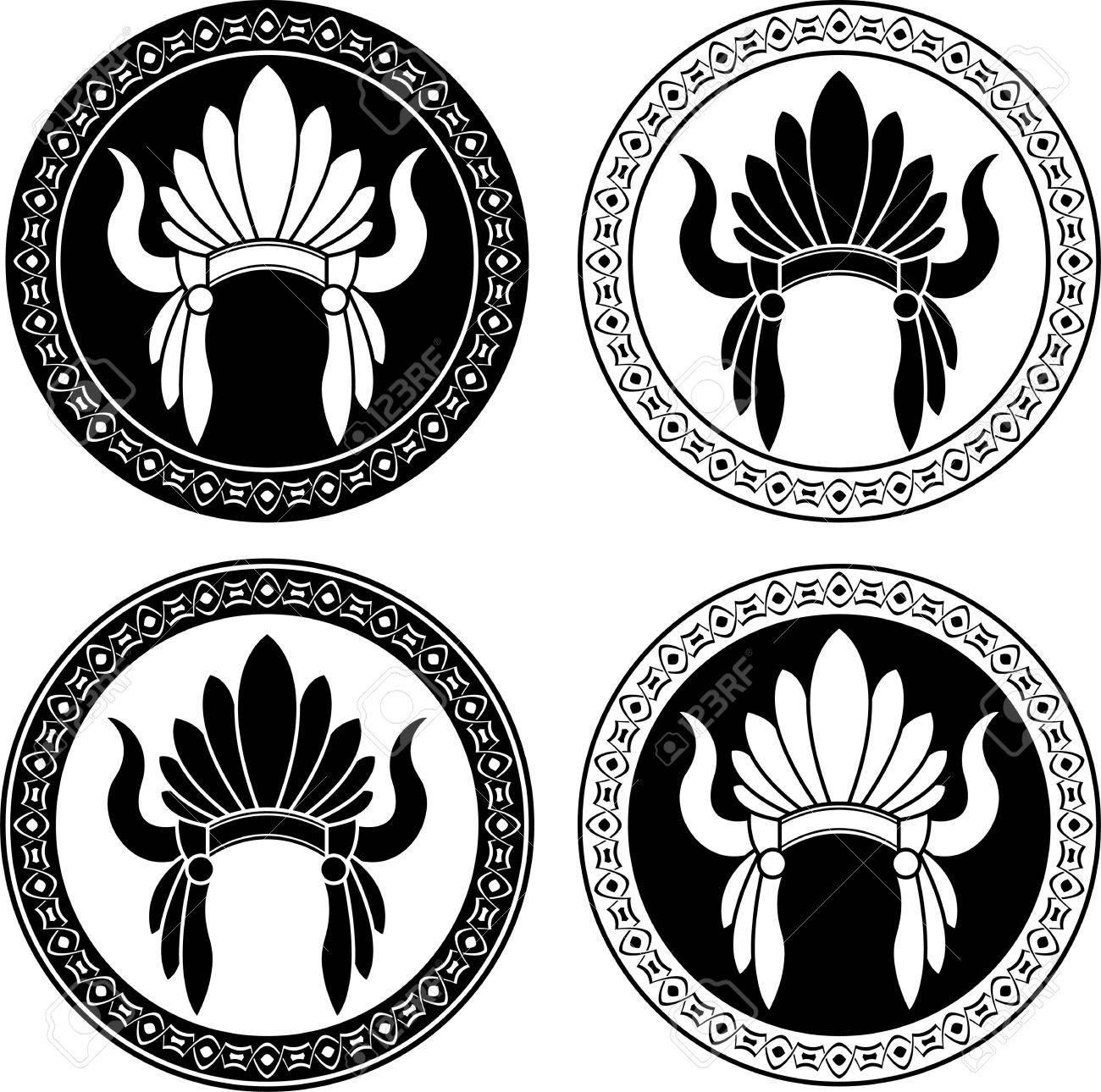 Nativos Americanos Plantillas Tocado Indio Ilustración Vectorial ...