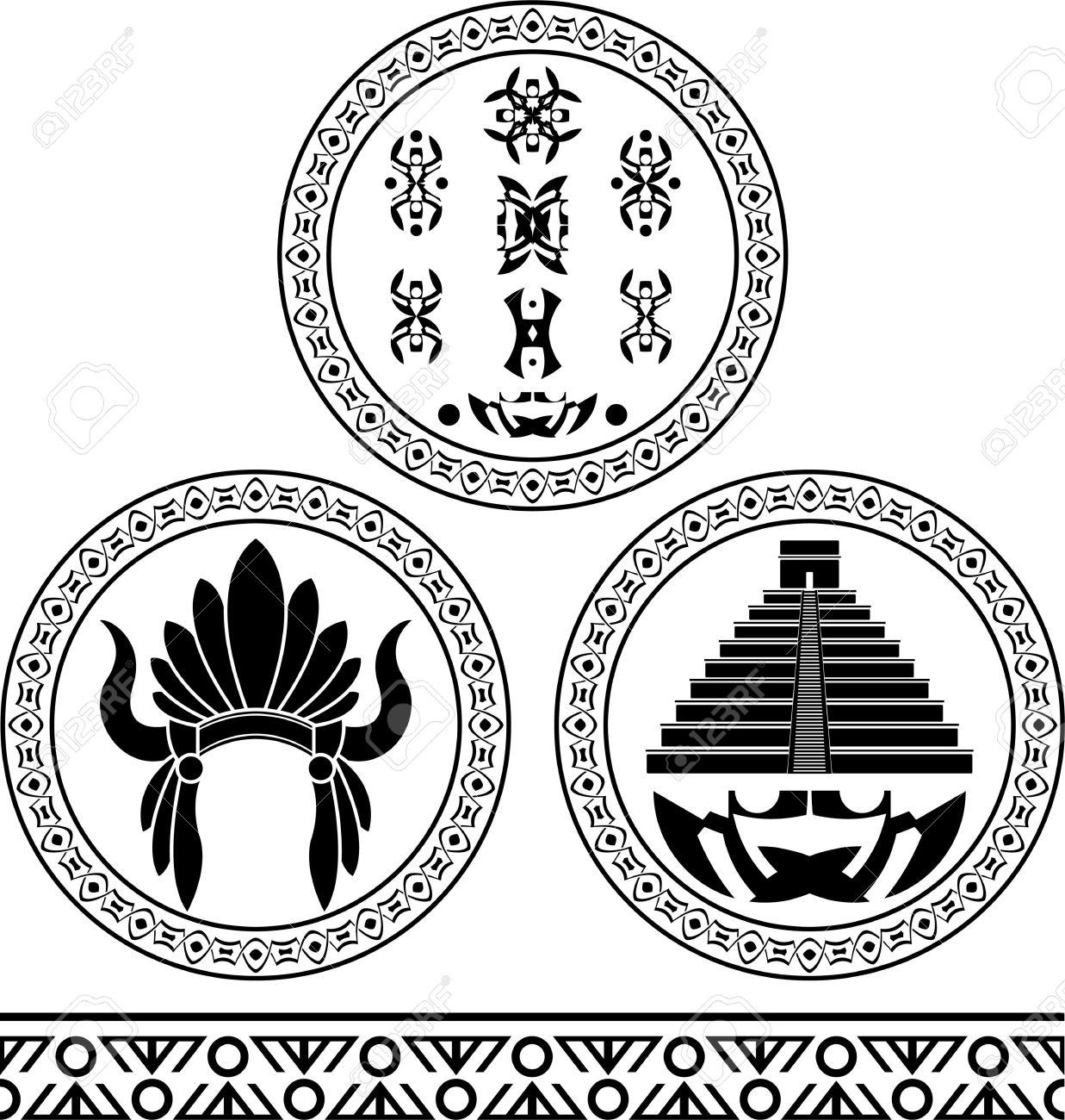 Mayan Signs Headdress Pyramid And Pattern Stencils Illustration