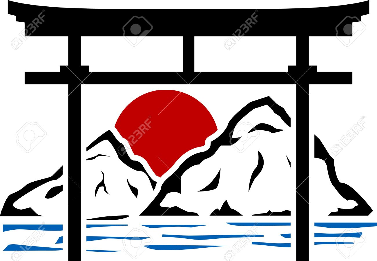 torii gate and sunrise. stencil. Stock Vector - 15081912