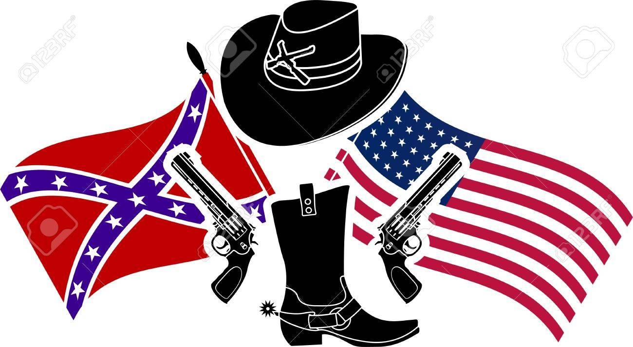 Símbolo De La Guerra Civil Americana Ilustración Vectorial Plantilla ...