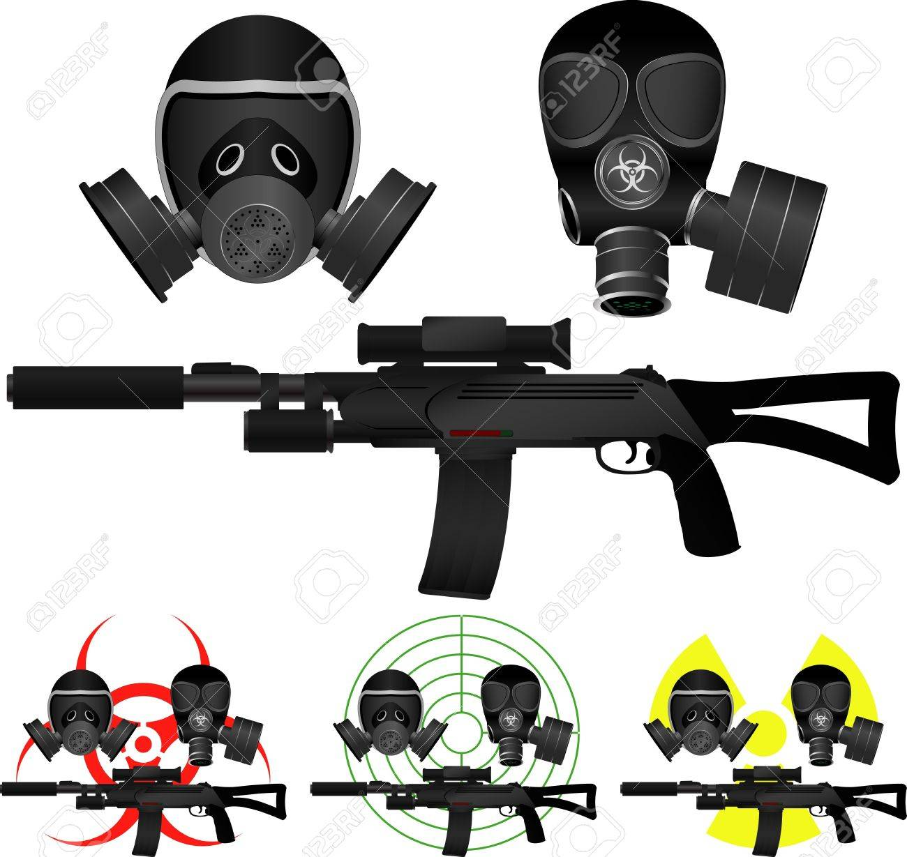 sniper rifle and gas masks  vector illustration Stock Vector - 18706818