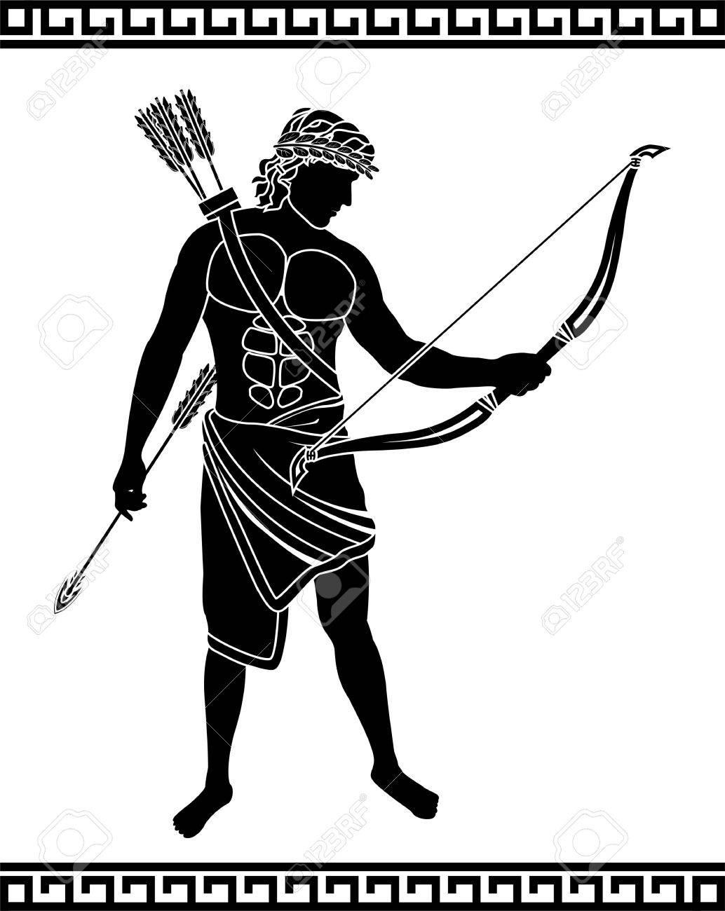 ancient bowman  stencil illustration Stock Vector - 20848255