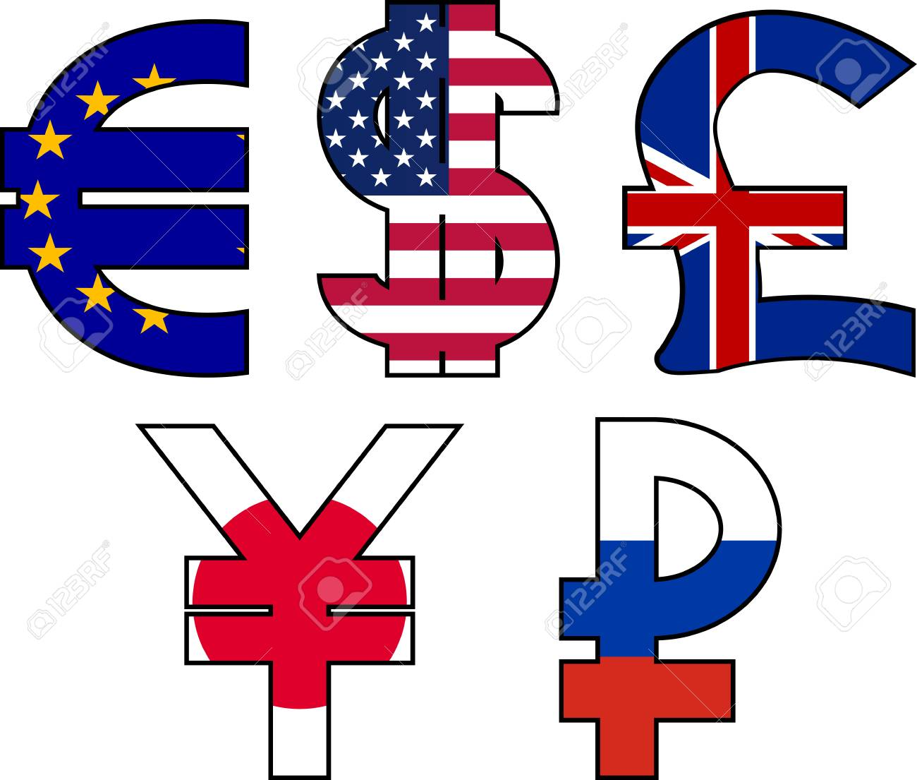 Currency Symbols Illustration Royalty Free Cliparts Vectors And