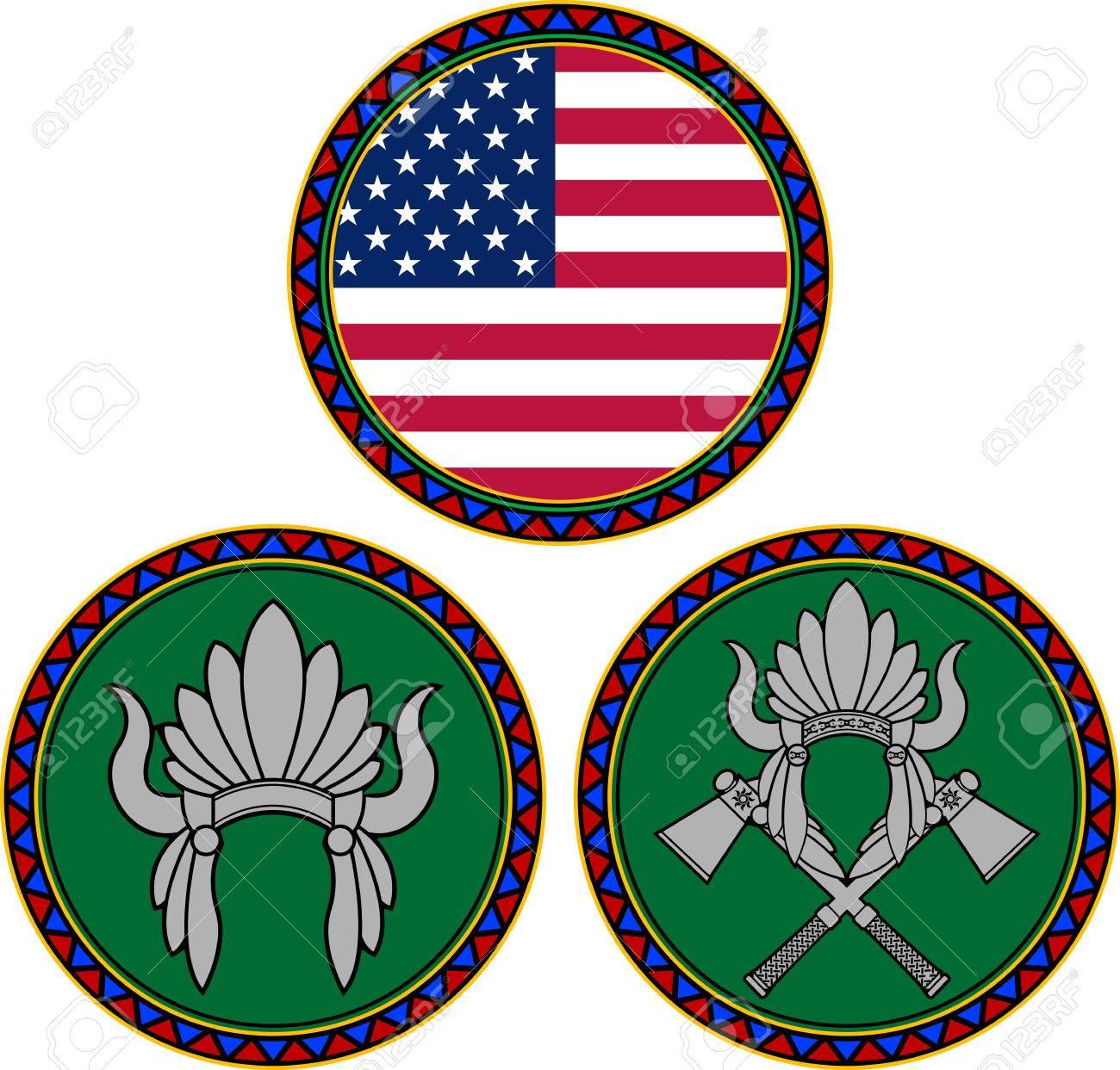 Bandera Americana Y La Ilustración Indio Tocado Ilustraciones ...
