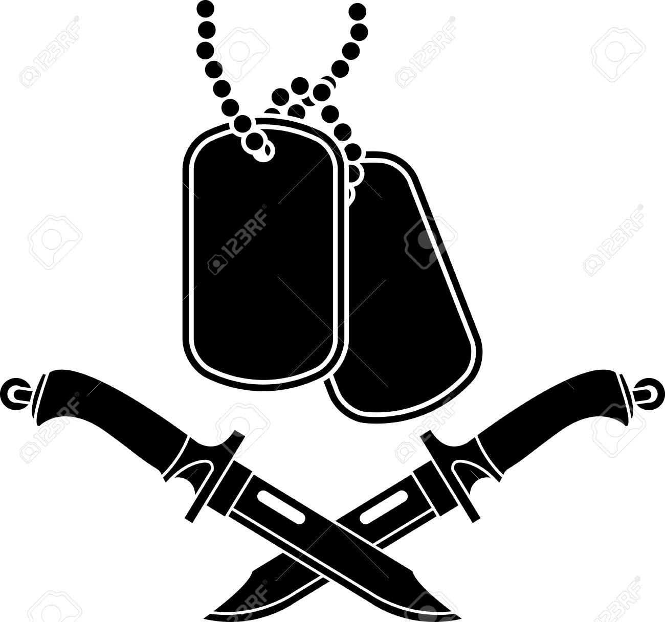 Dog Tags And Knifes Vector Illustration
