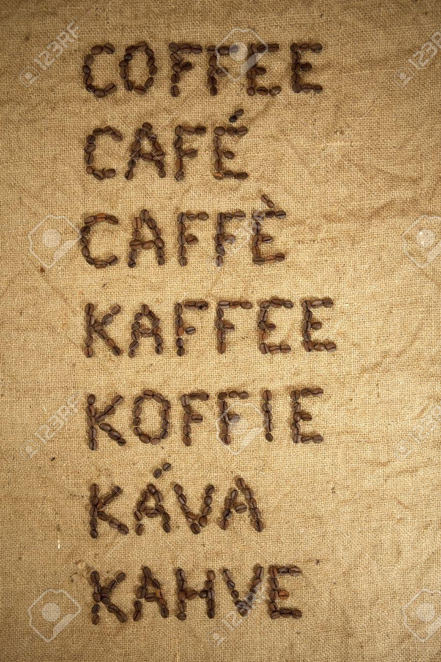 Wort Kaffee Aus Kaffeebohnen In Verschiedenen Sprachen Aus ...