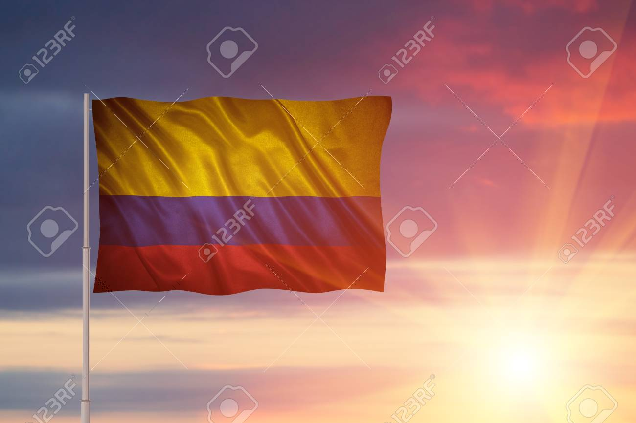 Closeup Of Grunge Flag Of Colombia Flag With Original Proportions