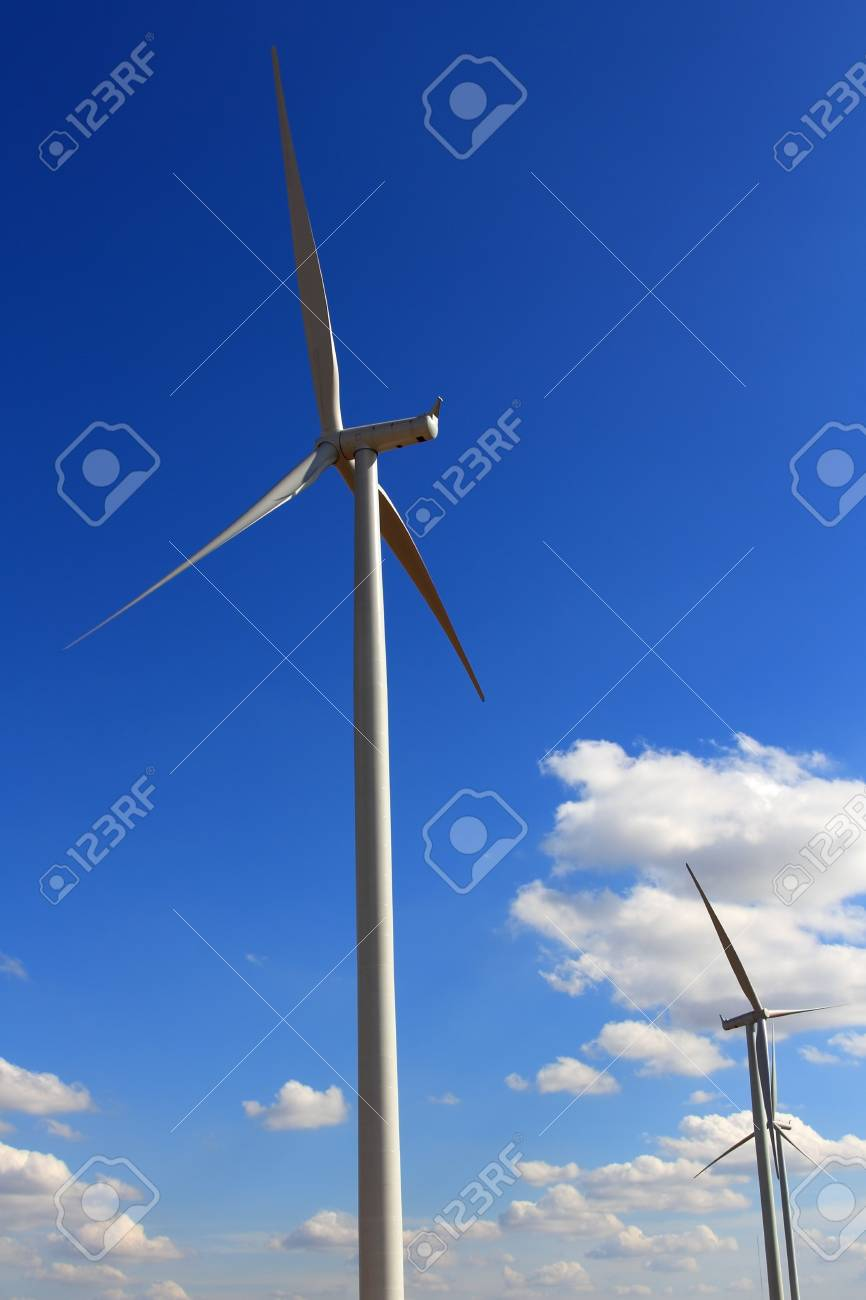 Wind Turbines with blue sky in Thailand Stock Photo - 17211618