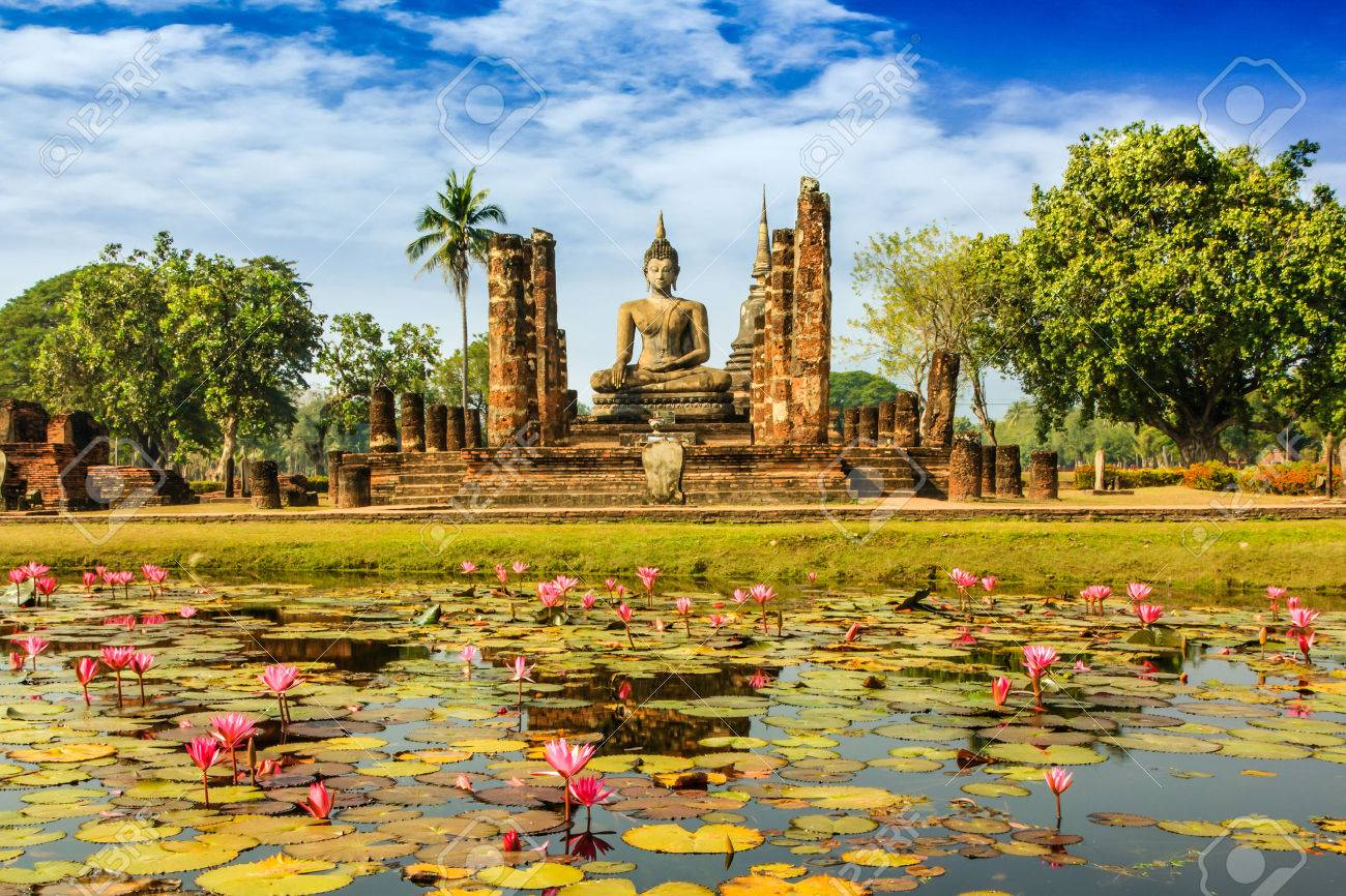 Buddha Statue At Wat Mahathat In Sukhothai Historical Park Thailand Stock Photo Picture And Royalty Free Image Image 24919546