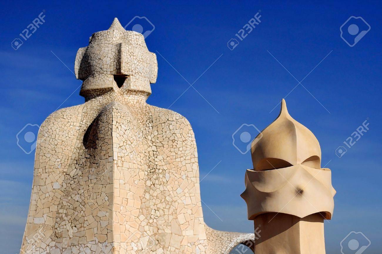 Los Detalles De La Terraza De La Pedrera Casa Milà De Barcelona Cataluña