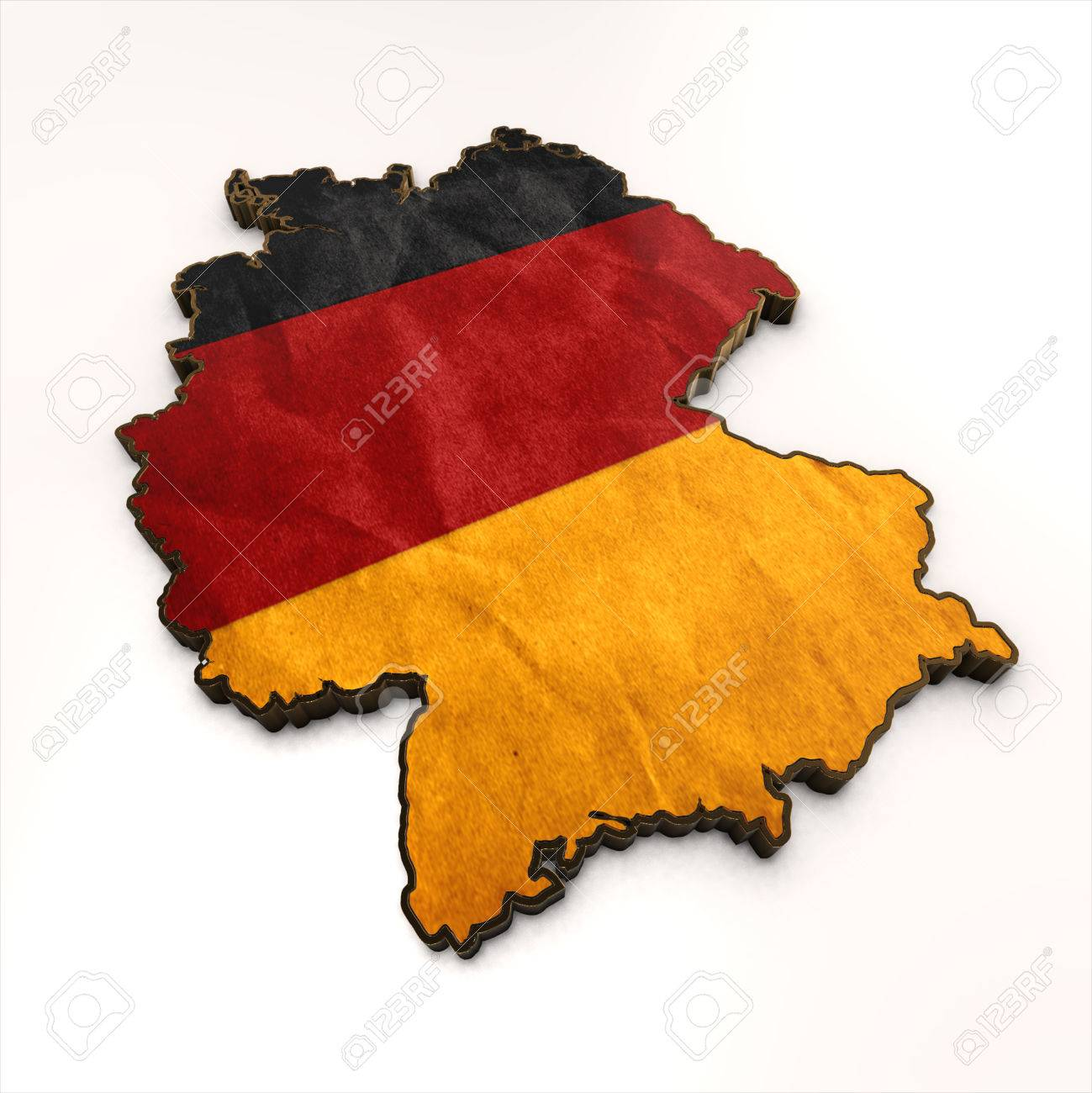 Map Of Germany 3d.Germany Gold Background Shape 3d Map With Flag Of Germany Isolator