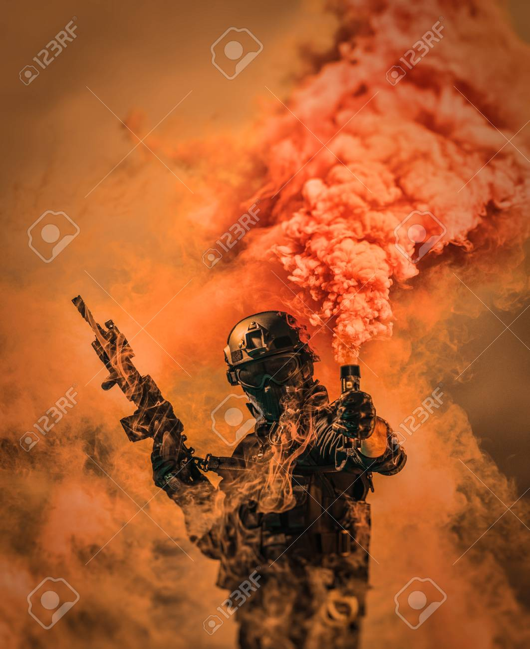 special forces soldier police, swat team member using smoke bomb
