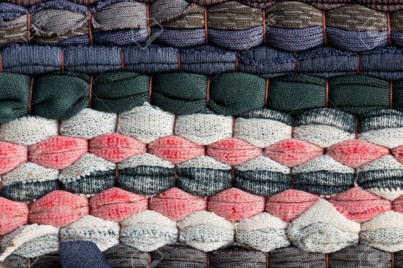 Colorful Knitted Cloth Reuse Closeup Of Crochet Rag Rug Stock Photo ...