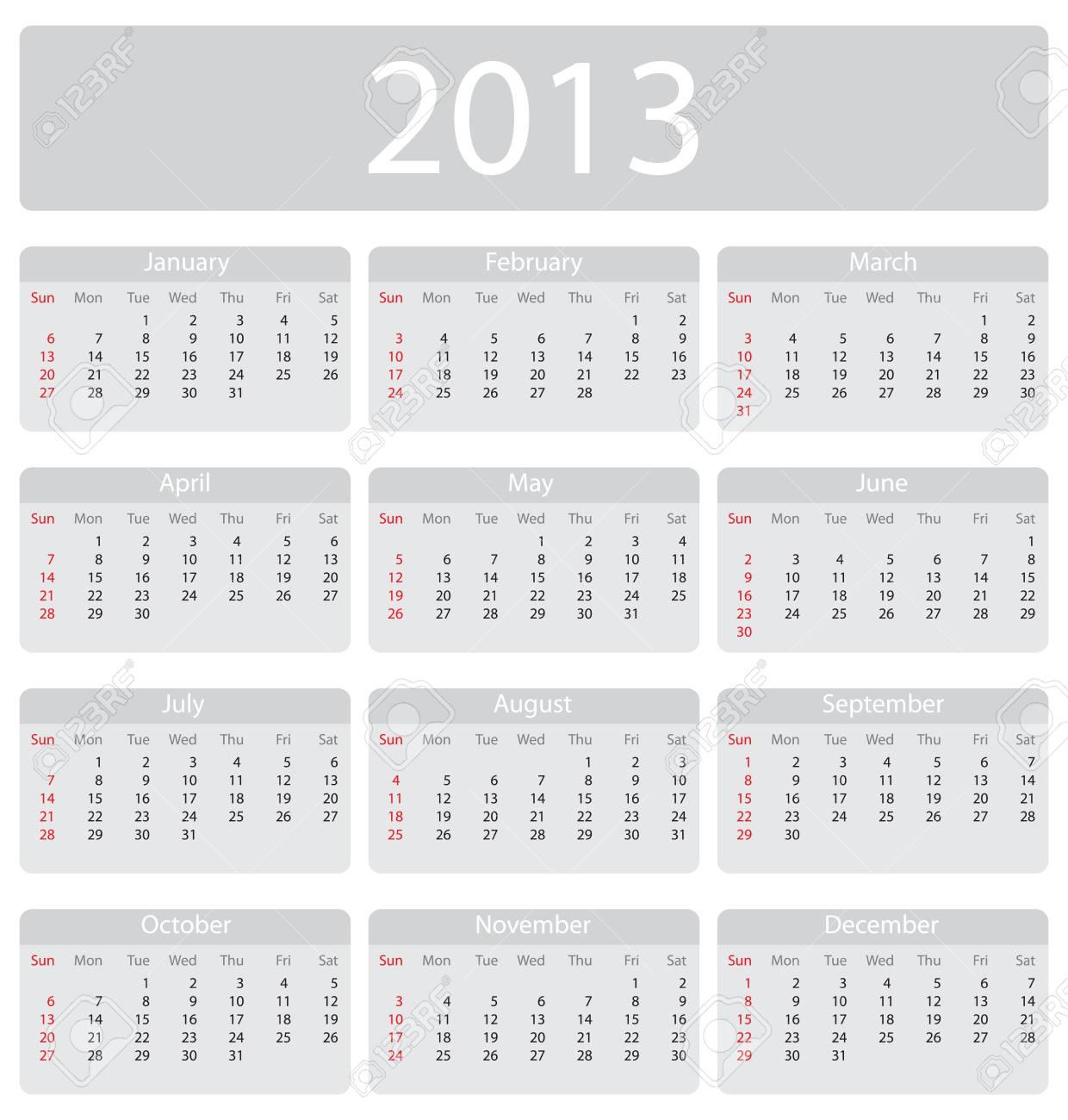 Minimalistic 2013 calendar - week starts with sunday Stock Vector - 14530329