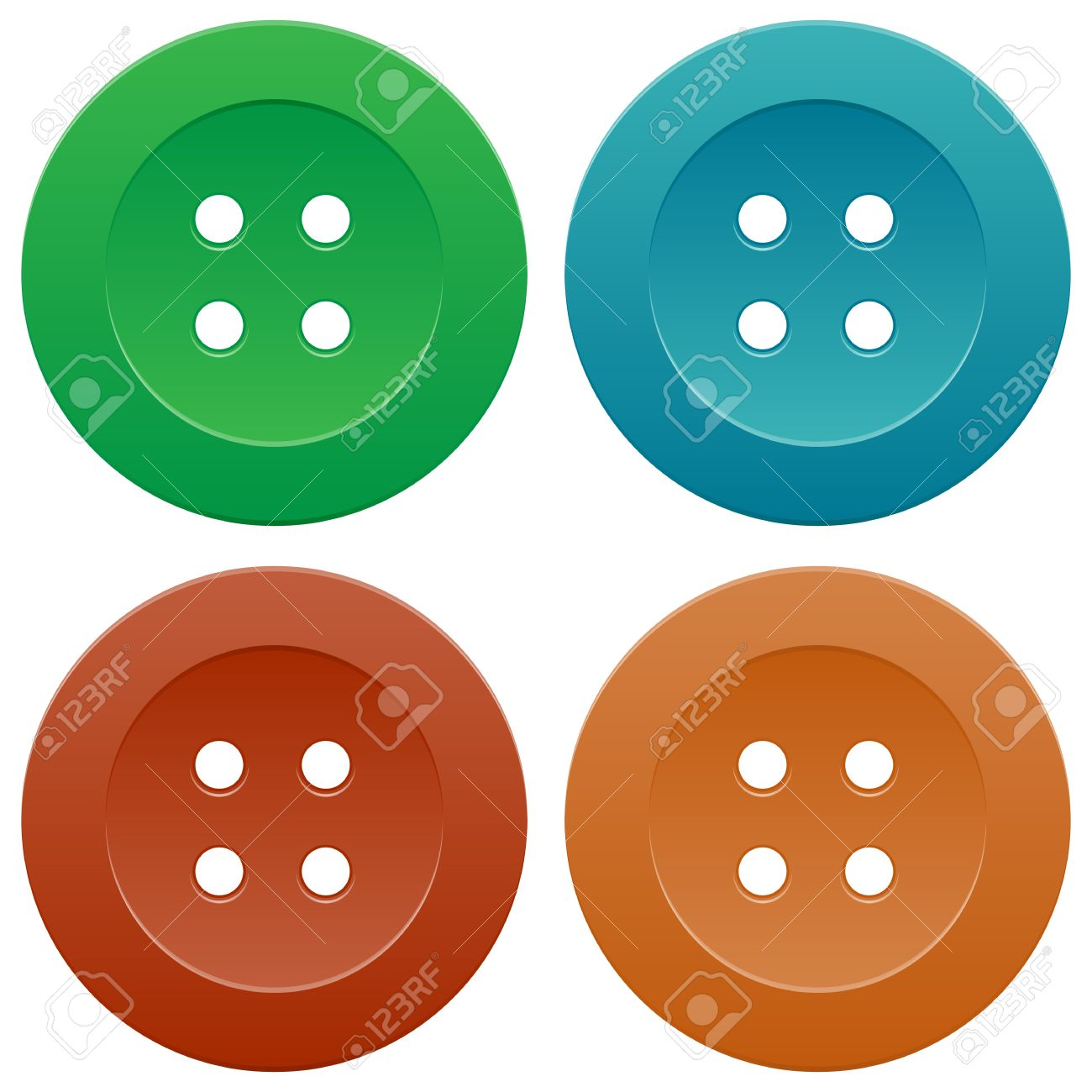 Group of Bright Colorful Sewing Buttons on White Background Stock Vector - 14930050