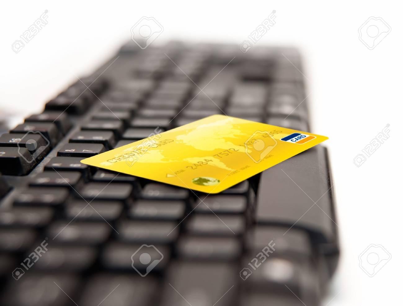 Golden Credit Card On Keybord Stock Photo - 7796612